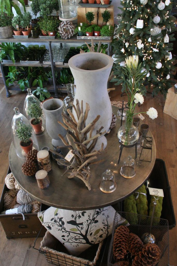 driftwood trees & wreaths, cement planters, basswood ornaments